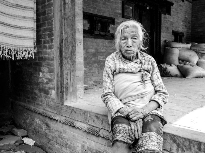 Old lady at Changu Narayan